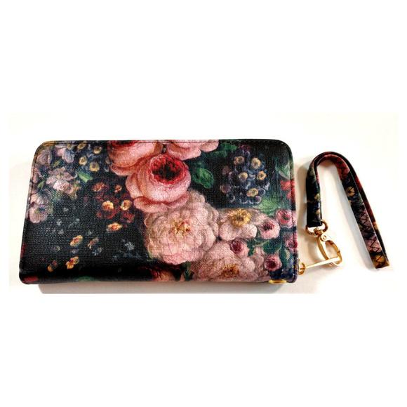 Sweet Marigold Handbags - Wallet Womens Clutch Zip Up Black Floral Peony